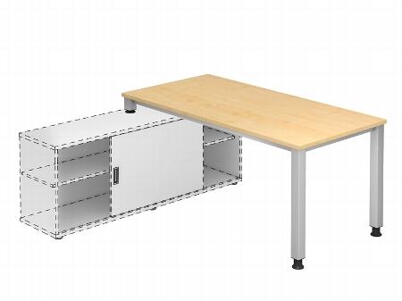 Hammerbacher Auflage-Schreibtisch Serie QSE16 mit 4-Fuß Gestell (BxT) 160x80cm zur Auflage auf Sideboard 1758S Ahorn/Silber