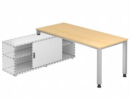 Hammerbacher Auflage-Schreibtisch Serie QSE19 mit 4-Fuß Gestell (BxT) 180x80cm zur Auflage auf Sideboard 1758S Ahorn/Silber