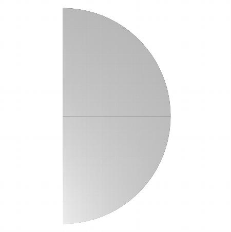 Hammerbacher Ansatztisch RA160 Halbkreis mit Stützfuß (BxT) 160x80cm Ahorn/Silber