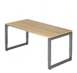 """Hammerbacher Schreibtisch Serie RS2E Arbeitshöhe 65-85cm (BxT) 200 x 100cm """"Schwebende Tischplatte"""" Ahorn/Silber"""