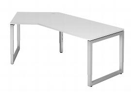 """Hammerbacher Schreibtisch Serie RS21 Winkelform 135° Arbeitshöhe 65-85cm (BxT) 210 x 113cm """"Schwebende Tischplatte"""" Ahorn/Silber"""