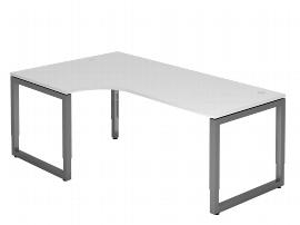 """Hammerbacher Schreibtisch Serie RS82 Winkelform 90° Arbeitshöhe 65-85cm (BxT) 200 x 120cm """"Schwebende Tischplatte"""" Ahorn/Silber"""
