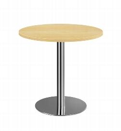 Hammerbacher Besprechungstisch STF08 mit Chromsäule Tischplatte rund Ø80cm Ahorn/Chrom