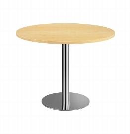 Hammerbacher Besprechungstisch STF10 mit Chromsäule Tischplatte rund Ø100cm Ahorn/Chrom