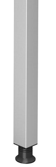 Hammerbacher Stützfuß STFQ mit Anschraubplatte Höhe verstellbar 68-82,5cm Silber