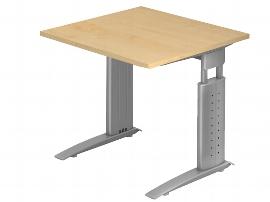 Hammerbacher Schreibtisch Serie US08 (BxT) 80 x 80cm inkl. Kabelwanne Arbeitshöhe 68-86cm Tischplatte Ahorn / Gestell Silber