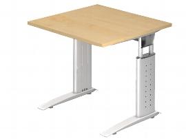 Hammerbacher Schreibtisch Serie US08/W (BxT) 80 x 80cm inkl. Kabelwanne Arbeitshöhe 68-86cm Tischplatte Ahorn / Gestell Weiß