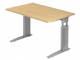 Hammerbacher Schreibtisch Serie US12 (BxT) 120 x 80cm inkl. Kabelwanne Arbeitshöhe 68-86cm Tischplatte Ahorn / Gestell Silber