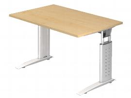 Hammerbacher Schreibtisch Serie US12/W (BxT) 120 x 80cm inkl. Kabelwanne Arbeitshöhe 68-86cm Tischplatte Ahorn / Gestell Weiß