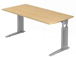 Hammerbacher Schreibtisch Serie US16 (BxT) 160 x 80cm inkl. Kabelwanne Arbeitshöhe 68-86cm Tischplatte Ahorn / Gestell Silber