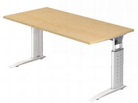 Hammerbacher Schreibtisch Serie US16/W (BxT) 160 x 80cm inkl. Kabelwanne Arbeitshöhe 68-86cm Tischplatte Ahorn / Gestell Weiß