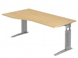 Hammerbacher Schreibtisch Serie US18 Freiform (BxT) 180 x 100cm inkl. Kabelwanne Arbeitshöhe 68-86cm Tischplatte Ahorn / Gestell Silber