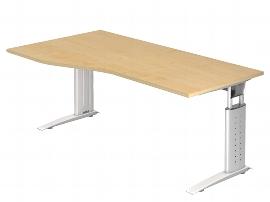 Hammerbacher Schreibtisch Serie US18/W Freiform (BxT) 180 x 100cm inkl. Kabelwanne Arbeitshöhe 68-86cm Tischplatte Ahorn / Gestell Weiß