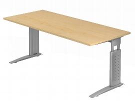Hammerbacher Schreibtisch Serie US19 (BxT) 180 x 80cm inkl. Kabelwanne Arbeitshöhe 68-86cm Tischplatte Ahorn / Gestell Silber