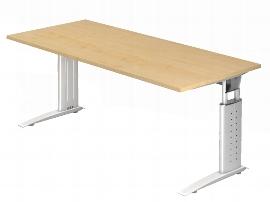 Hammerbacher Schreibtisch Serie US19/W (BxT) 180 x 80cm inkl. Kabelwanne Arbeitshöhe 68-86cm Tischplatte Ahorn / Gestell Weiß