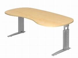 Hammerbacher Schreibtisch Serie US20 (BxT) 200 x 100cm Nierenform inkl. Kabelwanne Arbeitshöhe 68-86cm Tischplatte Ahorn / Gestell Silber