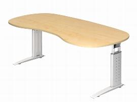 Hammerbacher Schreibtisch Serie US20/W (BxT) 200 x 100cm Nierenform inkl. Kabelwanne Arbeitshöhe 68-86cm Tischplatte Ahorn / Gestell Weiß
