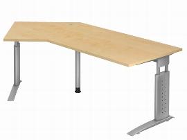 Hammerbacher Schreibtisch Serie US21 (BxT) 210 x 113cm Winkelform 135° inkl. Kabelwanne Arbeitshöhe 68-86cm Tischplatte Ahorn / Gestell Silber