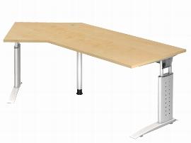 Hammerbacher Schreibtisch Serie US21/W (BxT) 210 x 113cm Winkelform 135° inkl. Kabelwanne Arbeitshöhe 68-86cm Tischplatte Ahorn / Gestell Weiß