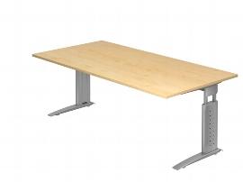 Hammerbacher Schreibtisch Serie US2E Arbeitshöhe 68-86 cm (BxT) 200 x 100cm inkl. Kabelwanne Tischplatte Ahorn / Gestell Silber