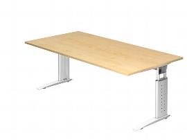 Hammerbacher Schreibtisch Serie US2E/W Arbeitshöhe 68-86 cm (BxT) 200 x 100cm inkl. Kabelwanne Tischplatte Ahorn / Gestell Weiß