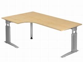Hammerbacher Schreibtisch Serie US82 (BxT) 200 x 120cm Winkelform 90° inkl. Kabelwanne Arbeitshöhe 68-86cm Tischplatte Ahorn / Gestell Silber