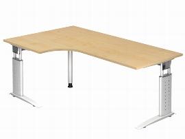 Hammerbacher Schreibtisch Serie US82/W (BxT) 200 x 120cm Winkelform 90° inkl. Kabelwanne Arbeitshöhe 68-86cm Tischplatte Ahorn / Gestell Weiß