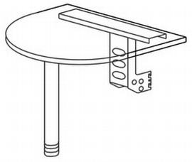 Hammerbacher Ansatztisch XA60 mit Stützfuß +Konsole (BxT) 60x80cm Ahorn