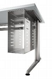 Hammerbacher CPU-Halterung XCPU aus Stahlblech für Untertisch-Montage Silber