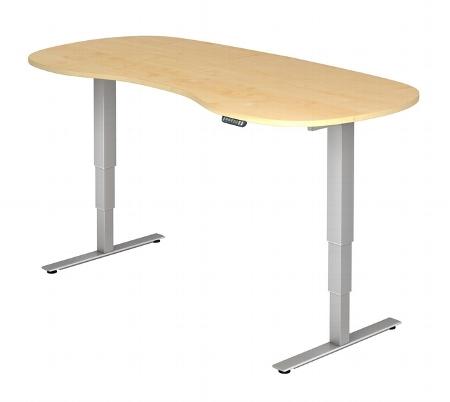Hammerbacher Schreibtisch XDSM20 Nierenform TRAVERSEless Steh-/Sitzarbeitsplatz (BxT) 200x100cm Memory 2-stufig höhenverstellbar von 63,5-128,5cm Ahorn