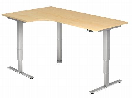 Hammerbacher Schreibtisch XDSM82 TRAVERSEless Winkelform 90° Steh-/Sitzarbeitsplatz (BxT) 200x120cm Memory 2-stufig höhenverstellbar von 63,5-128cm Ahorn