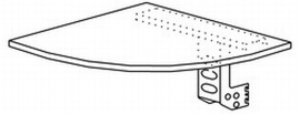 Hammerbacher Eckwinkel XE91 gerundet 90° +Konsole Tiefe 80x80cm Ahorn