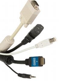 Legamaster 7-LMGKS2 Kabelset PC 3m (HDMI, VGA, USB) - Verbindung Anschlussbox <=> PC