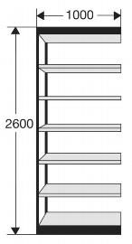 Kerkmann 2151 Regal Progress 2000 Regalfeld (TxBxH) 30 X 100 X 260cm Schwarz/Grau