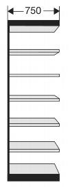 Kerkmann 2155 Regal Progress 2000 Regalfeld (TxBxH) 30 X  75 X 260cm Schwarz/Grau