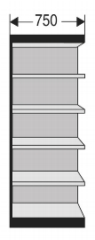 Kerkmann 2235 Regal Progress 2000 Regalfeld mit Rückwand (TxBxH) 30 X  75 X 225cm Schwarz/Grau