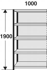 Kerkmann 2413 Magazin-Regal Stora 100 Regalfeld mit Rückwand (TxBxH) 300X1000X1900mm Schwarz/Grau
