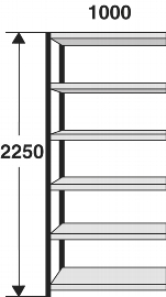 Kerkmann 2429 Magazin-Regal Stora 100 Regalfeld (TxBxH) 300X1000X2250mm Schwarz/Grau