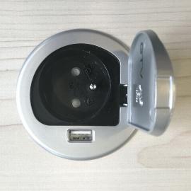 Kerkmann 3005 Steckdose mit USB Slot Silber - rechts montiert
