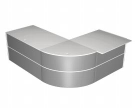 Kerkmann 3539 PADUA Niedrigtheke/Großschreibtisch über Eck (BxTxH) 232x183x75cm Weiß/Silber