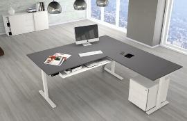 Kerkmann MOVE 3 Steh-/Sitz Schreibtisch 3867 T-Fuß  (BxT) 180x100cm mit Anbau elektr. höhenverstellbar Weiß