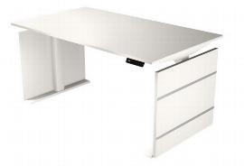 Kerkmann 3833 Sitz-/Stehtisch Form 4 160cm elektr. höhenverstellbar Weiß