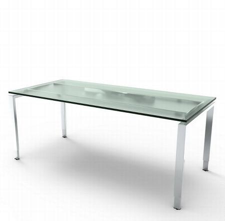 Schreibtisch Glasplatte AVETO Edelstahl 4-Fuß höhenverstellbar 180x80x68-82cm Weiß