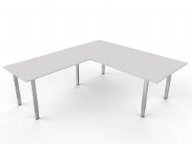 Kerkmann 4009 Schreibtisch AVETO Edelstahl 4-Fuß mit Anbau 120 (BxTxH) 200x100x68-82cm Weiß