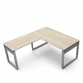 Kerkmann 4049 Schreibtisch Form 5 mit Bügelgestell mit Anbau 100 (BxTxH) 160x80x68-82cm Ahorn