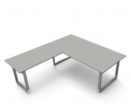 Schreibtisch Form 5 mit Bügelgestell mit Anbau 200 x 220cm 68-82 Grafit