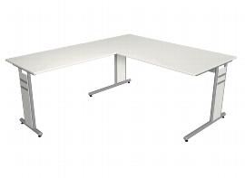 Kerkmann 4092 Schreibtisch Form 4 C-Fuß mit Anbau 100 (BxTxH) 160x180x68-82cm Grafit