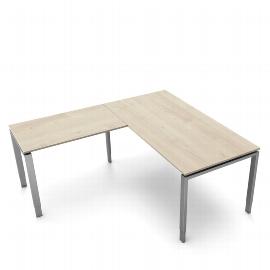 Schreibtisch Form 5 mit 4-Fuß Gestell mit Anbau 160 x 180cm 68-82 Ahorn