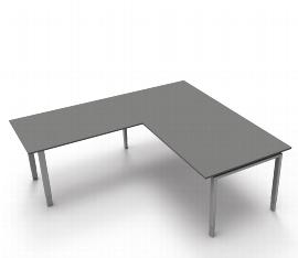Schreibtisch Form 5 mit 4-Fuß Gestell mit Anbau 200 x 220cm 68-82 Grafit