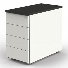 Kerkmann 4192 Anstellcontainer (BxTxH) 43x80x72-76cm 4 Schubladen Weiß/Anthrazit